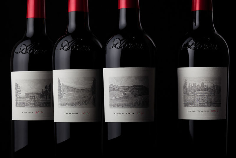 Cult wine bottle photography in Napa Valley, California