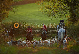 Huntsman Andrew Osborne and hounds - The Cottesmore Hunt at America Crossroads 17/10