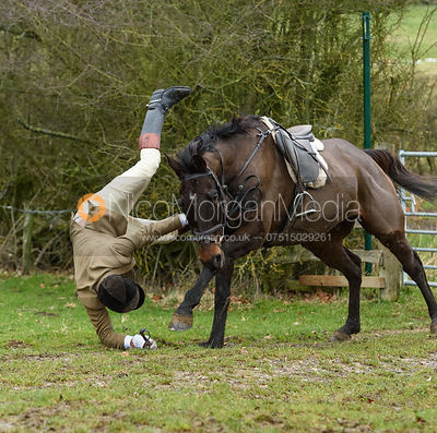 Jumping a hunt jump by Gossages's. The Cottesmore Hunt at Bleak House 18/12