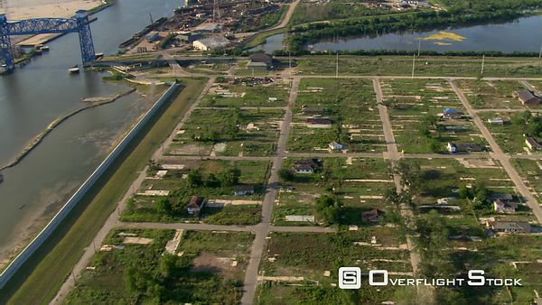 Wide aerial view of remains of residential neighborhood after Hurricane Katrina, New Orleans, Louisiana