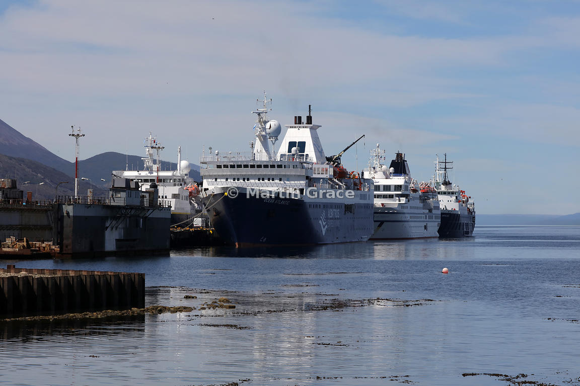 Cruise vessels tied up at Ushuaia: Ocean Atlantic (Albatros Expeditions) at front, then RCGS Resolute (One Ocean Expeditions)...