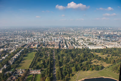 Aerial view of London, Kensington Gardens with Hyde Park.