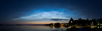Noctilucent Clouds (NLCs) above lake Vesijärvi in Southern Finland on July 28 2018.