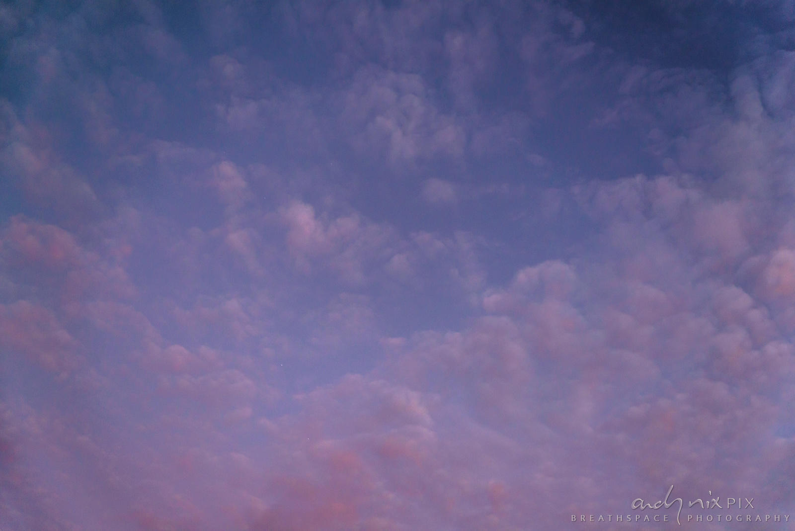 Fluffy pink clouds in a blue sky.