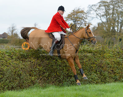 Michael Dungworth jumping a hedge near the meet in Long Clawson