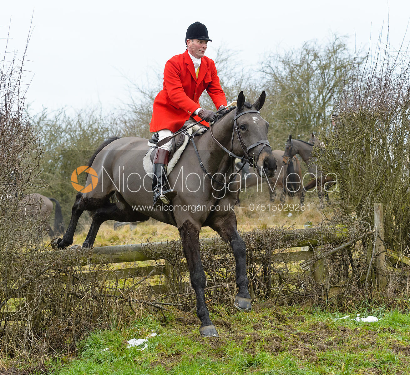 Major Tim Brown jumping the hunt jump at Newbold - The Fitzwilliam Hunt visit the Cottesmore at Burrough House