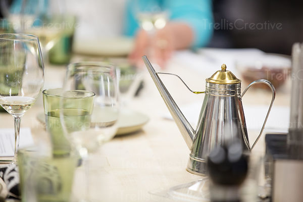 Olive oil canister on a event table
