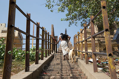Steep staircase along the Ganges River, Assi Ghat, Varanasi, India