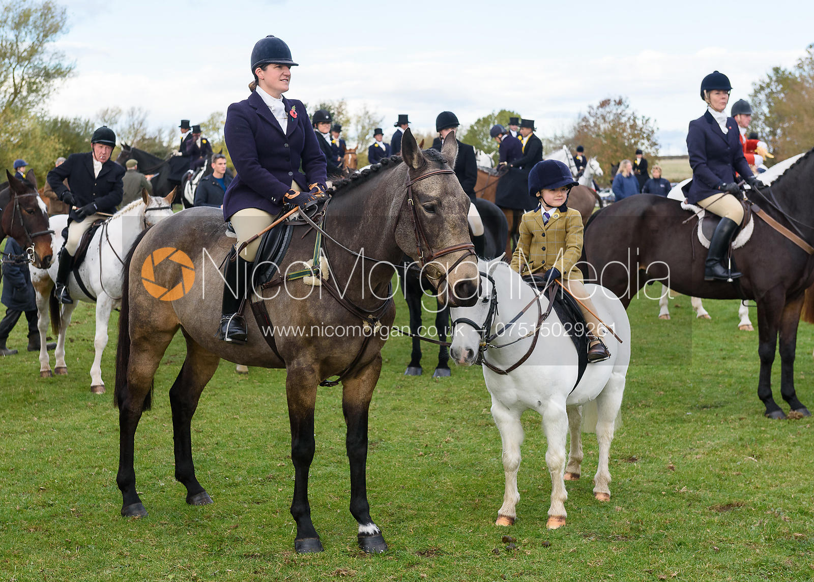 Lucy Young, Eva Young at the meet. Quorn Hunt Opening Meet 2018