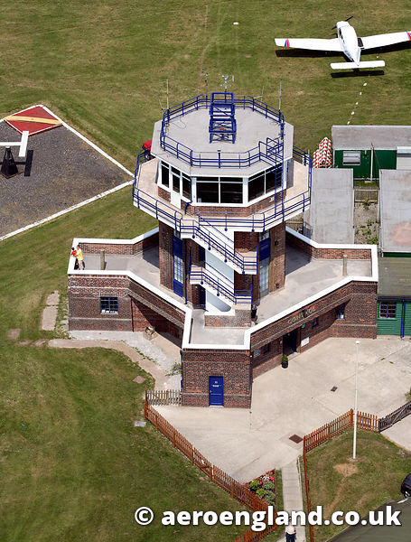 aerial photograph of the worlds oldest operational airport control tower at Baton aerodrome   Greater Manchester England UK