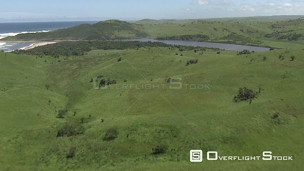 Aerial shot of land next to the coastline KwaZulu Natal South Africa