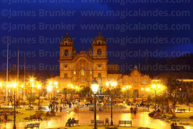Compañia de Jesus church and Plaza de Armas during twilight, Cusco, Peru