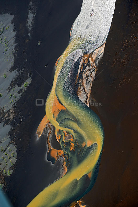 Aerial view of river, South West Iceland, June 2014.