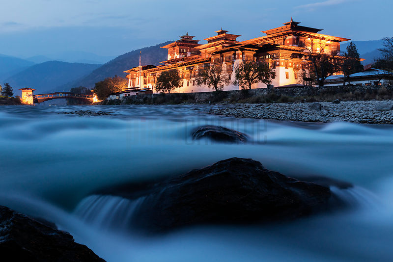 Punakha Dzong at Dusk with the Mother River Mo-Chu