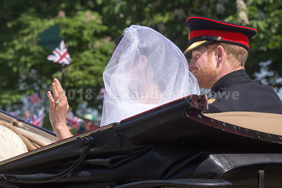 The newlywed royal couple - Harry and Meghan - greet the crowds in The Long Walk during their carriage ride