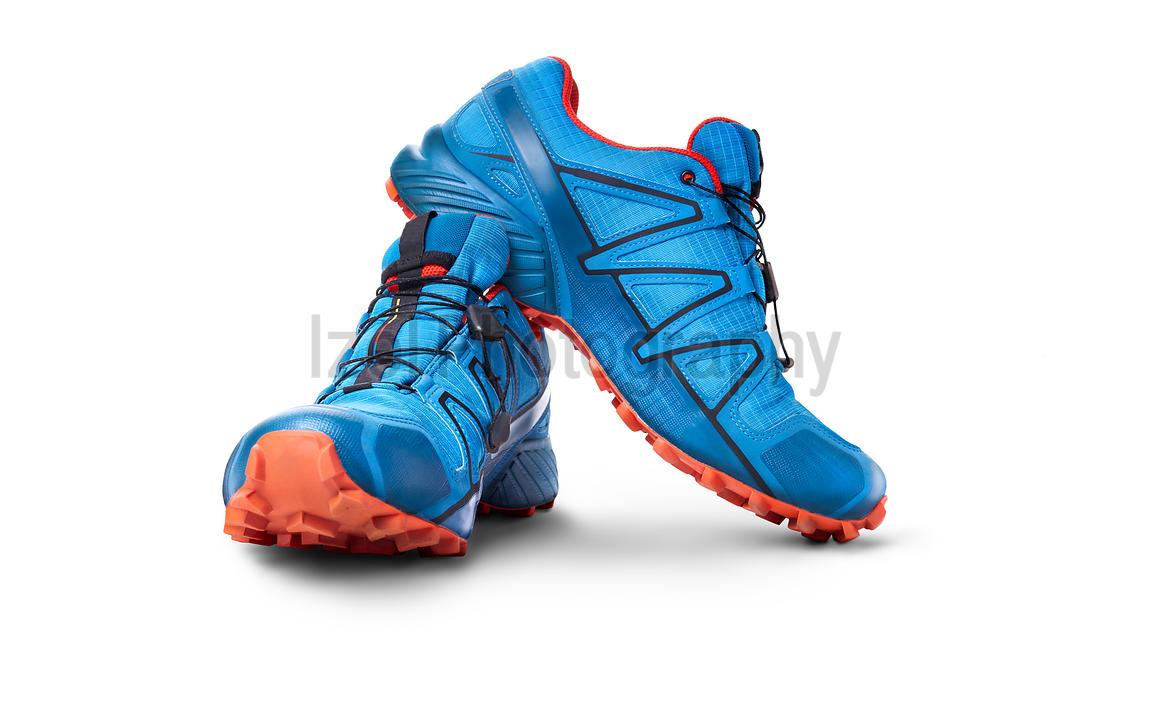 Front view of blue and Orange trainers