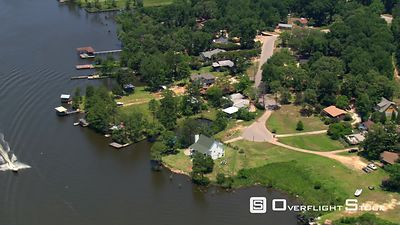 Flying over waterfront homes, Mobile, Alabama.