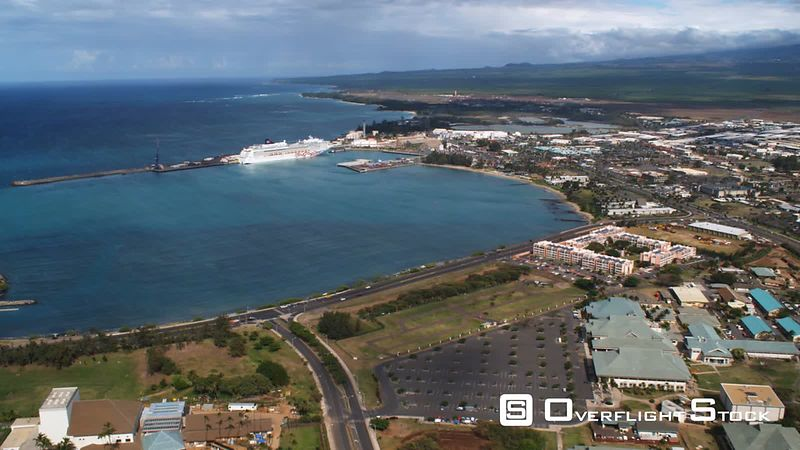 Over Kahului toward cruise ship in harbor.