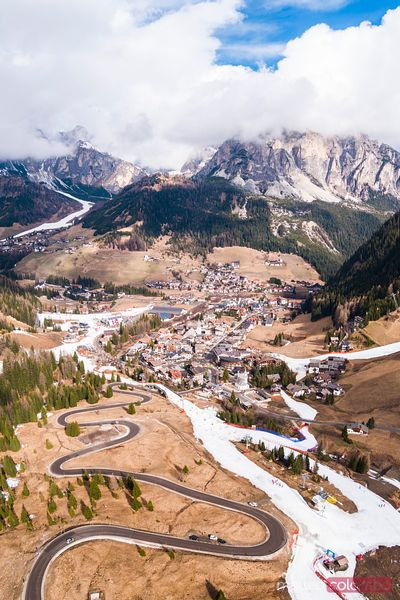 Aerial view of Corvara town in the Dolomites, Val Badia