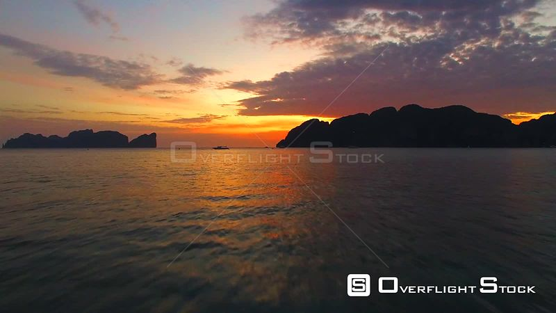 Sunset at Ko Phi Phi Don Island Thailand Drone Footage