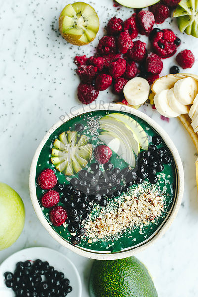 Smoothie bowl shot from the top