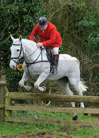 Martin Brown jumping a hunt jump near Knossington Spinney