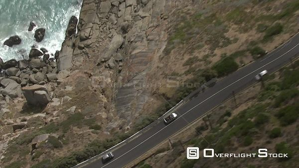 Aerial of cars driving along Chapman's Peak Drive Chapman's Peak Drive Hout Bay Western Cape South Africa