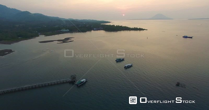 Sunset over Bay with Boats Bali Indonesia