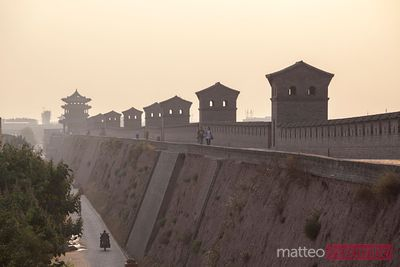 The ancient wall of Pingyao at sunset, China