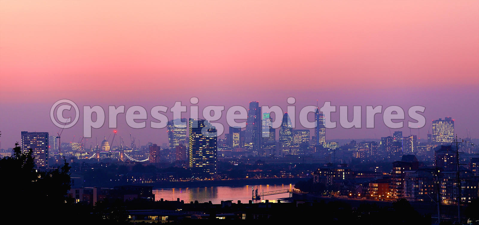 London Night Cityscape with St Pauls Cathedral, River Thames and Many City Tower Blocks