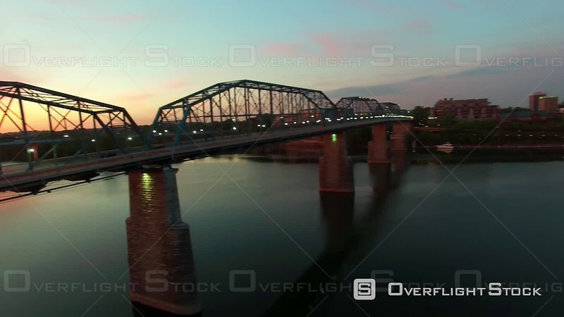 Aerial Sunrise Walnut Street Bridge Over Chattanooga Tennessee