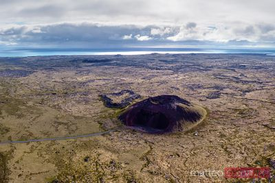 Aerial drone view of Saxholl volcano, Snaefellsnes, Iceland