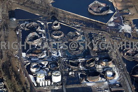 Buncefield fire aerial photography of the Buncefield Oil Depot Hemel Hempsted Hertfordshire after the fire devastated the fue...