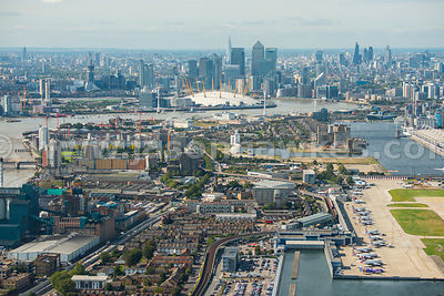 Aerial view from City Airport to Canary Wharf, London