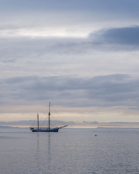 Irene anchored off The Cobb in Lyme Regis, Dorset, UK