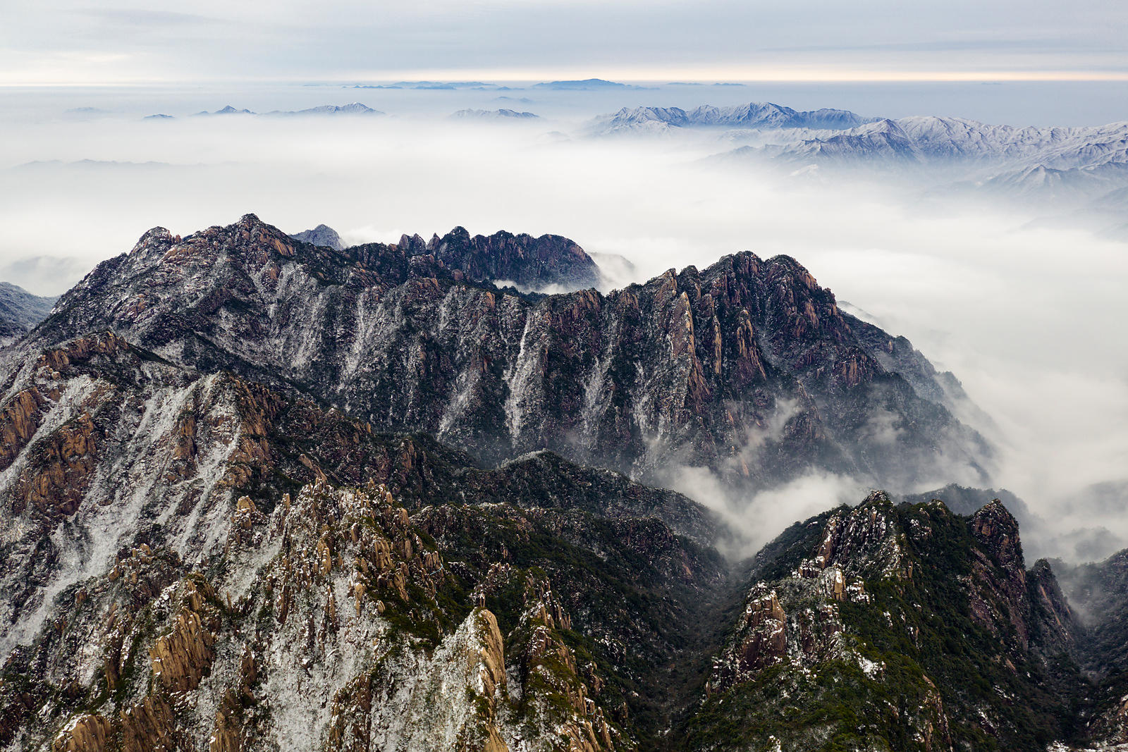 Aerial View of the Huangshan Mountains and a Sea of Mist