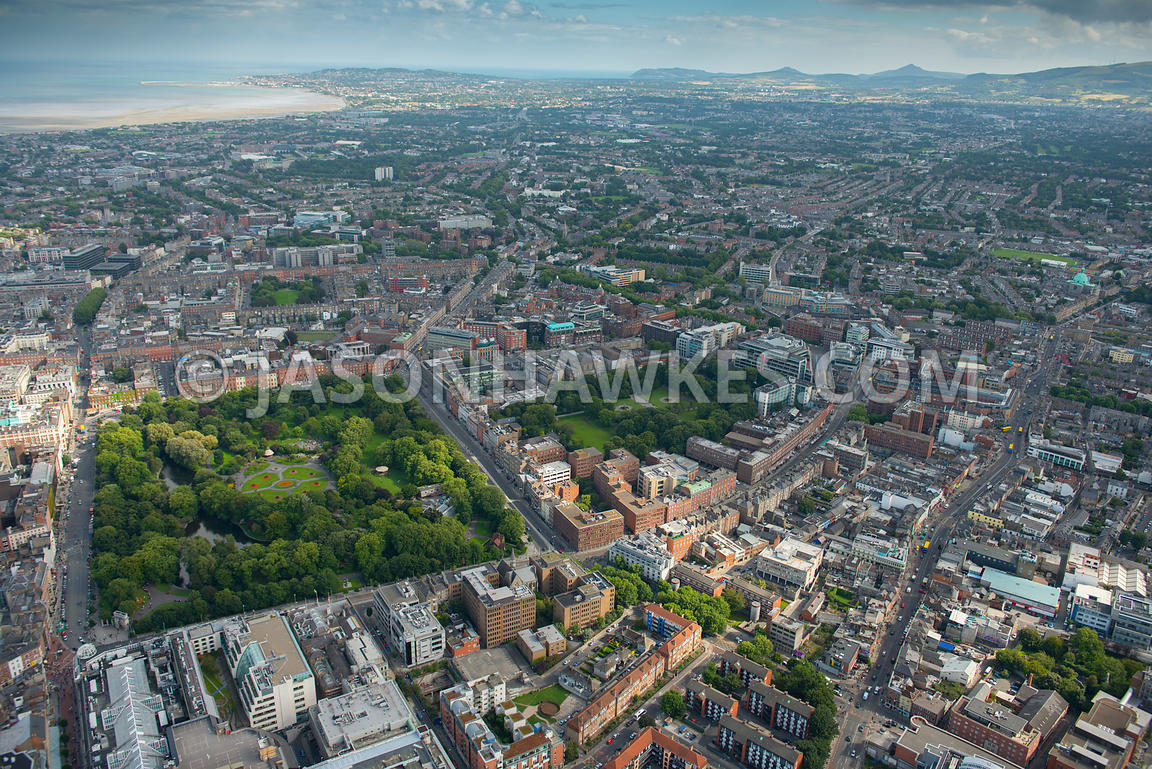 Aerial view of Dublin showing St Stephens Green and Iveagh Gardens, Dublin, Ireland