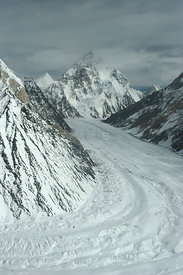 Aerial view of K2 and glaciated valley, Concordia, Karakoram Mountains, Himalayas, Pakistan. From Pakistani military helicopt...