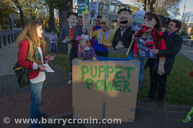 News / Dustin the Turkey and other puppets stage protest outside American Embassy, Ballsbridge.