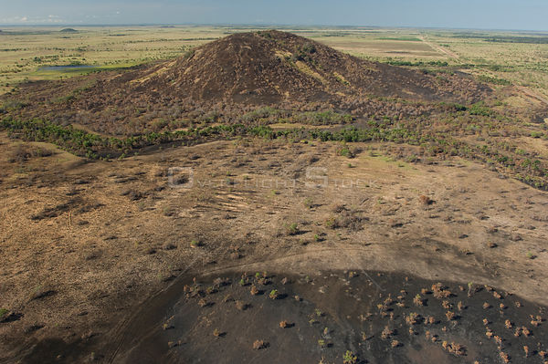 Aerial view of burned-out land in the Cerrado of Roraima, by the road Boa Vista city - Bonfim town, Roraima State, Northern B...