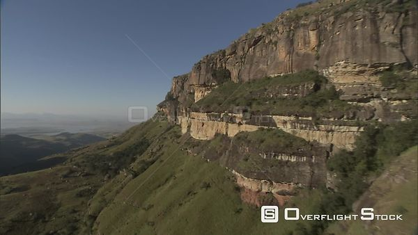 Aerial over a beautiful mountainous landscape. Free State South Africa