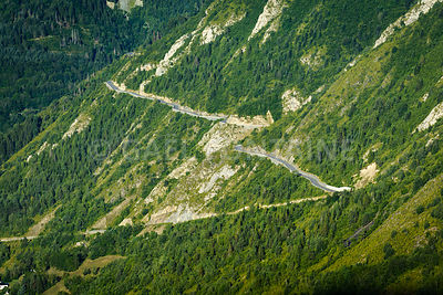Road to cross the Pyrenean mountain at Saint Lary Soulan, France