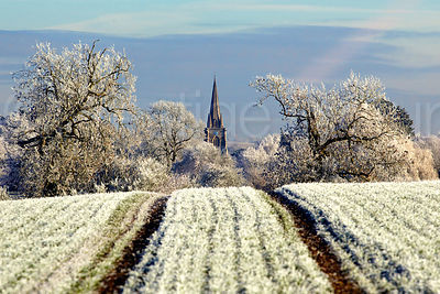 Frost Covered Fields with Trees and Village Church