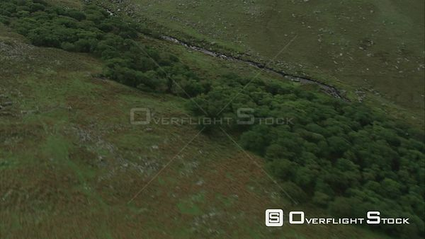 Aerial view of the River Okement and BlackaTor Copse, Dartmoor National Park, Devon, England, UK, October 2015.