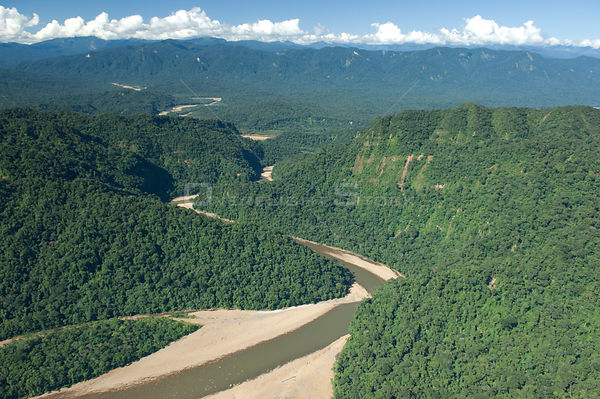 Ichilo River and the Yungas rainforest in the dry season, Amboró National Park, Santa Cruz Department, Bolivia.