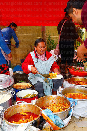 Woman serving typical local dishes during carnival, Canasmoro, Tarija Department, Bolivia