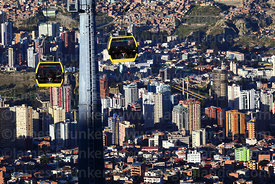 View looking down on Yellow Line cable car gondolas above Sopocachi district, La Paz, Bolivia