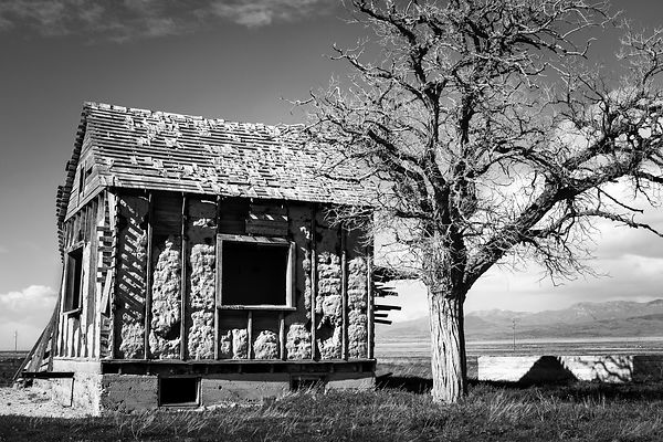 Abandon Farm House, in Black and White - Utah