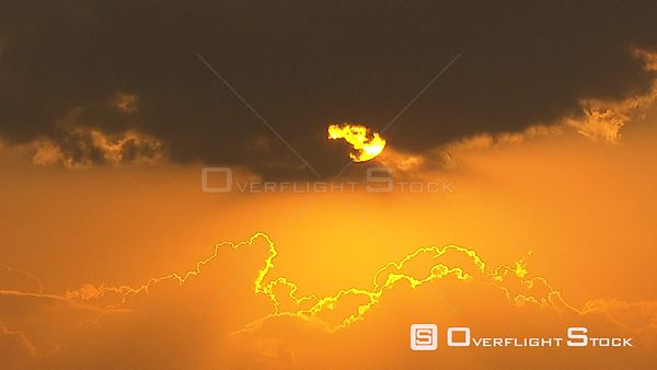 Handheld shot of the sun moving behind clouds. Johannesburg Gauteng South Africa