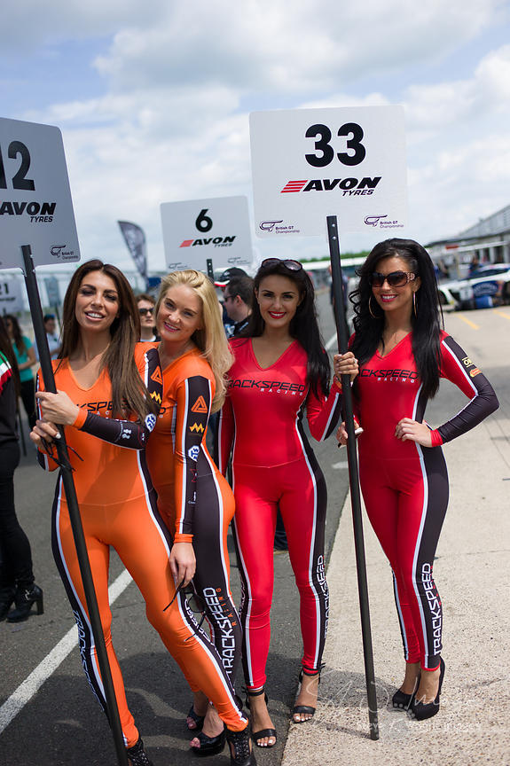 The Trackspeed Porsche grid girls at the Silverstone 500 - the third round of the British GT Championship 2014 - 1st June 2014